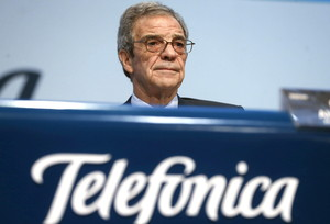 El presidente de Telefónica, César Alierta, en una junta de accionistas.