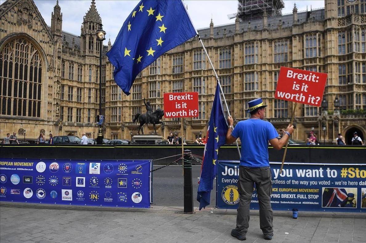 Protesta contra el 'brexit' ante el Parlamento en Londres.