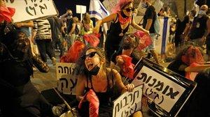 Protestas contra el primer ministro Israelí, Binyamin Netanyahu.