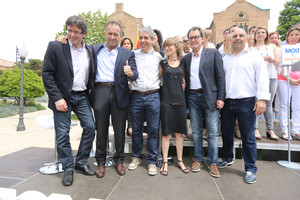Puigdemont, Calçada, Homs, Tarrida, Mas y Clavaguera, en el mitin de Convergència en Barcelona.