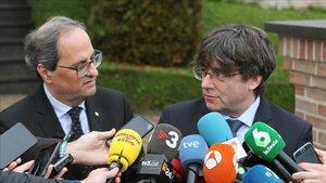 El president Quim Torra y el expresident Carles Puigdemont, en Waterloo (Bélgica)