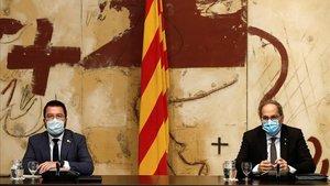 El presidente de la Generalitat,Quim Torra, y el vicepresidente del Govern, Pere Aragonès