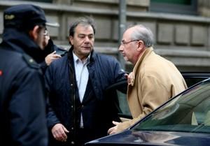 Rato, a su llegada a la Audiencia Nacional, donde ha declarado por el caso Bankia.