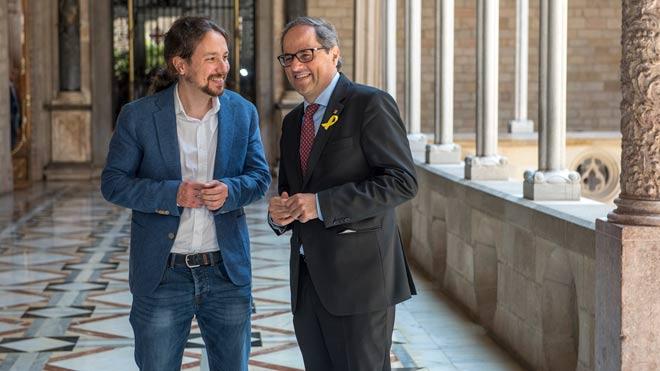 Reunión entre Pablo Iglesias y Quim Torra en la Generalitat.