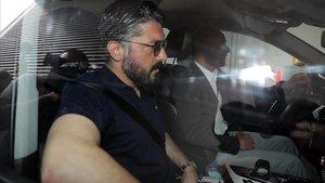 Gattuso, este martes al dejar las oficinas del Milan.