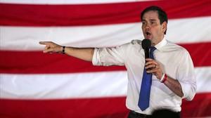 Rubio habla en un acto de campaña en Ponte Vedra Beach (Florida), el 8 de marzo.