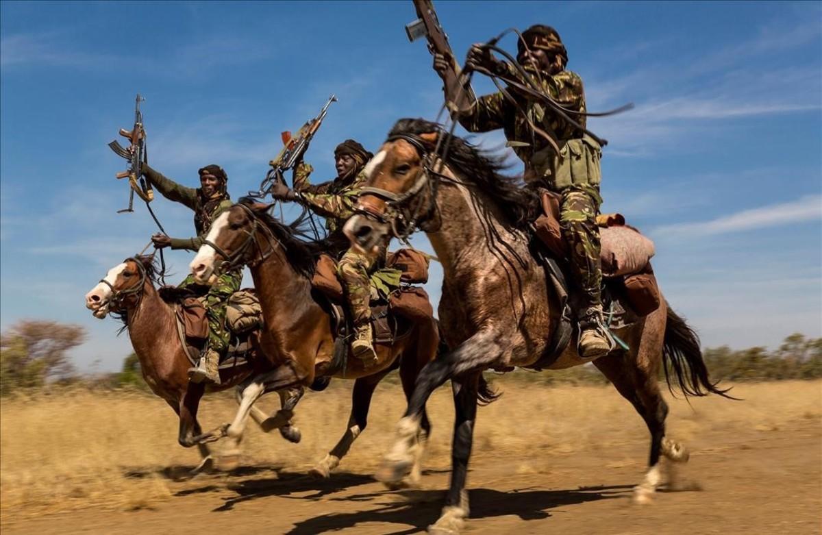 Soldados del Chad persiguen el tráfico ilegal de marfil, que diezma la población de elefantes.Es una de las imágenes premiadas en el World Press Photo.