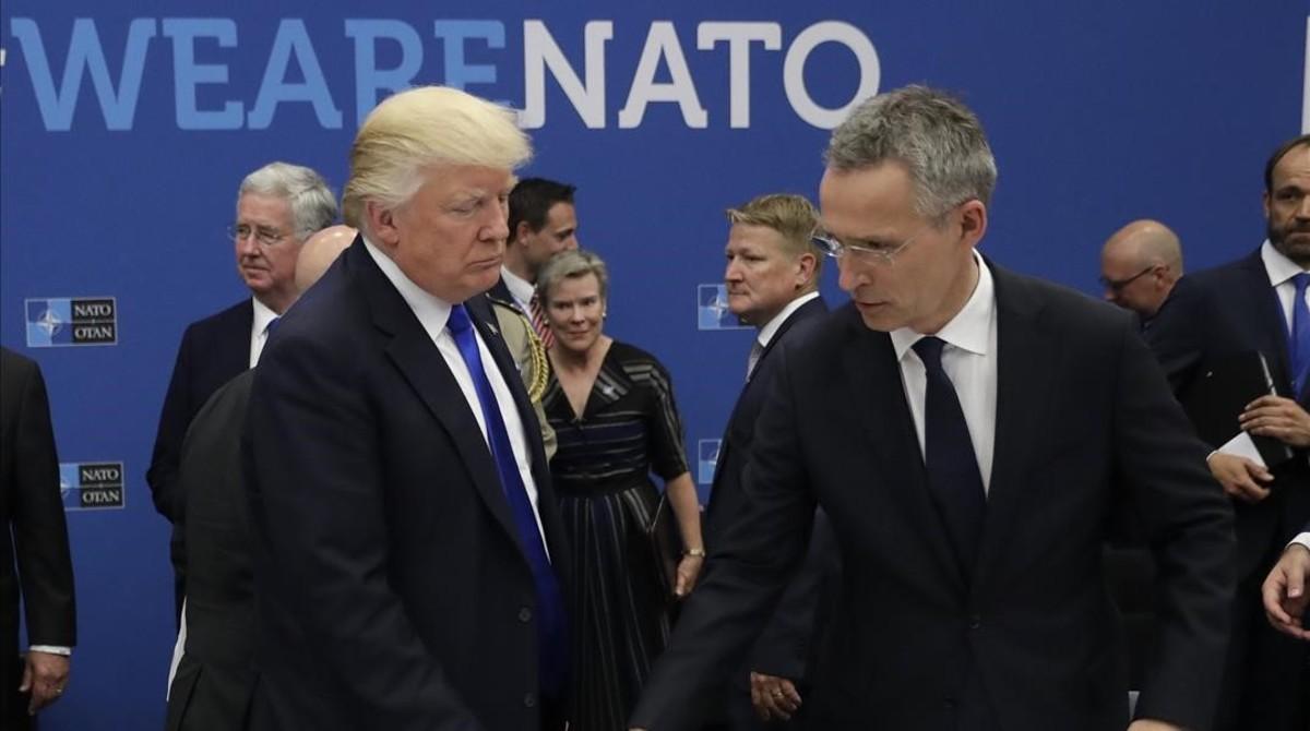 Trump con el secretario general de la OTAN, Jens Stoltenberg.