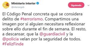 El polémico tuit del ministerio de Interior sobre qué seconsidera delito de terrorismo según el Código Penal.