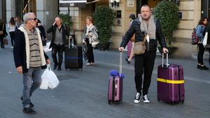Turistas en Barcelona.