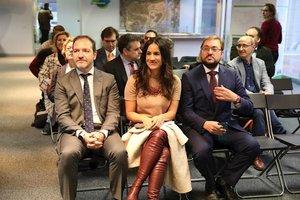 La vicealcaldesa de Madrid, Begoña Villacís, junto al delegado de Desarrollo Urbano, Mariano Fuentes, y el concejal del distrito de Hortaleza, Alberto Serrano.