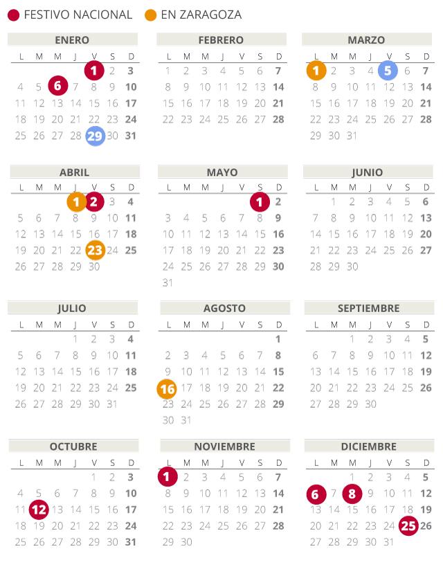 Calendari laboral d'Aragó del 2021 (amb tots els dies festius)