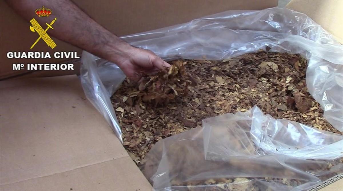 Tabaco intervenidopor la Guardia Civil.