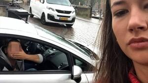 Noa Jansma, en un selfi junto a un presunto acosador como parte de su campaña @dearcatcallers