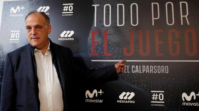 El presidente de la Liga,Javier Tebas,en la presentacion de la serieTodo por el juego, el pasado viernes.