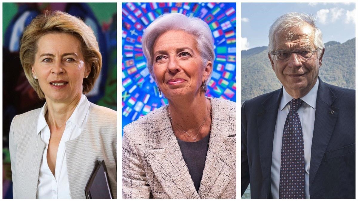 De izquierda a derecha, Ursula von der Leyen, nueva presidenta de la Comisión Europea,Christine Lagarde, presidenta delBCE, y Josep Borrell, jefe de la diplomacia europea.