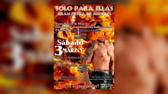 Polémica por el cartel de una fiesta solo para mujeres en Güímar, Tenerife