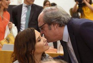 La candidata delPP a la Presidencia de la Comunidad de Madrid, Isabel Díaz Ayuso, y su homólogo del PSOE, Ángel Gabilondo.