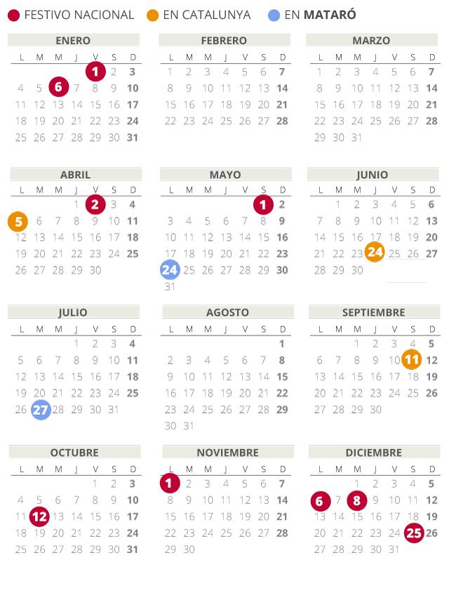 Calendario laboral de Mataró del 2021 (con todos los festivos)