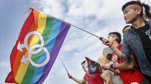 Activistas a favor del matrimonbio homosexual se manifiestan durante el pasado mes de diciembre en Taiwán.