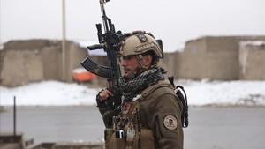 Un soldado afgano en Kabul.