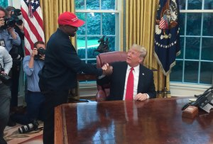 US President Donald Trump meets with rapper Kanye West in the Oval Office of the White House in WashingtonDC- Rapper Kanye Westwho has been outspoken in his support for President Donald Trumpnow says he s going to focus on his music and fashion after beingusedin the world of politics.Photo by SEBASTIAN SMITHAFP