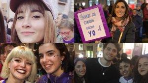 Algunos de los rostros televisivos que han estado presentes en las manifestaciones del 8-M.