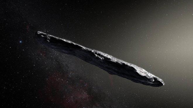 Recreación artística del asteroide Oumuamua elaborada para la NASA.