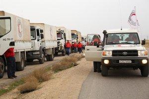 Un convoy de ayuda humanitaria de la Media Luna Roja en Siria. FotoAFP