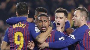 El festejo del gol de Malcom en 'El Clásico'.