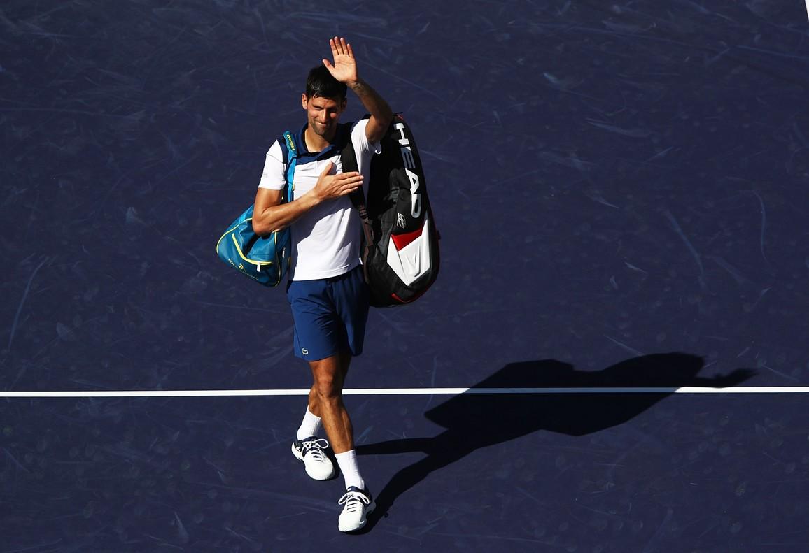 Novak Djokovic, en el momento de su despedida de Indian Wells.