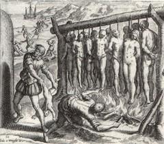Españoles quemando indios en un grabado propagandístico flamenco.
