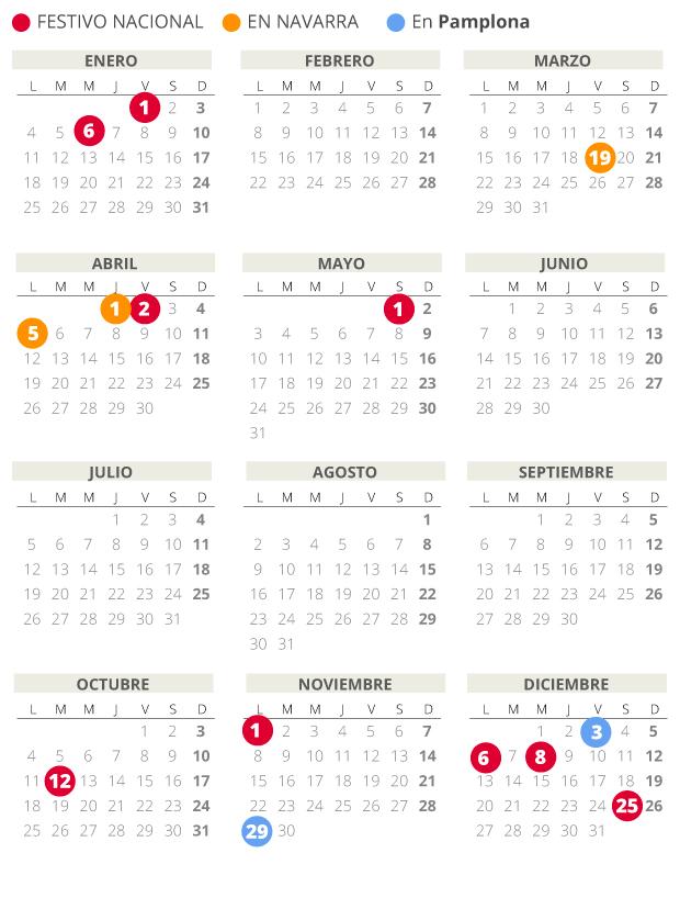 Calendario laboral de Pamplona del 2021.