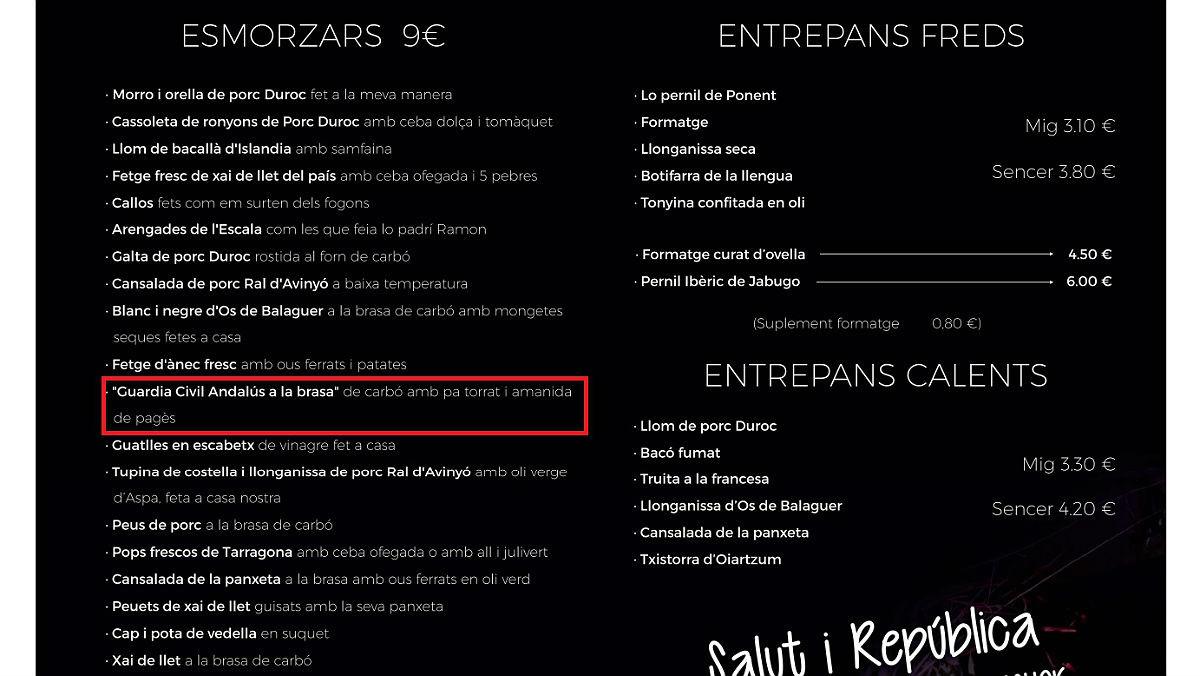 Captura de la carta del restaurante Nova Font Blanca de Balaguer.