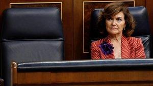 Carmen Calvo, el jueves, en el Congreso.
