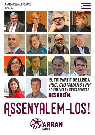 Cartel de Arran contra concejales de Lleida de PSC, Ciutadans y PPC.