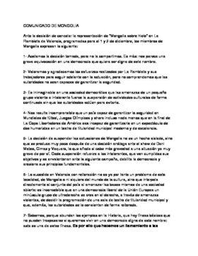 Comunicado de Mongolia tras la suspensión de su espectáculo en Valencia.