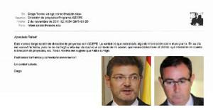 Correo entre Diego Torres, exsocio de Iñaki Urdangarín, y el actual ministro de Justicia, Rafael Catalá.