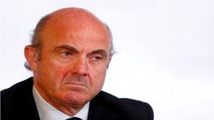 Luis De Guindos en una rueda de prensa del BCE
