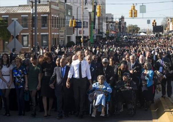 Derechos civiles 8 Obama, en una marcha conmemorativa en Selma (Alabama), el pasado mes de marzo.