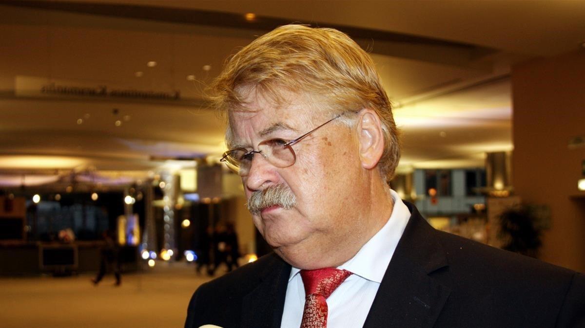 Elmar Brok, diputado del Parlamento Europeo y miembro de la CDU alemana, el partido de Angela Merkel.