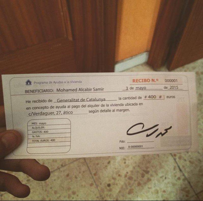El falso cheque a nombre de un hipotético Mohamed Alcabir Samir, con un importe de 4.000 euros, que estaba integrado dentro de la propaganda electoral distribuida por Plataforma per Catalunya en varias ciudades catalanas en la campaña de las municipales de 2011.