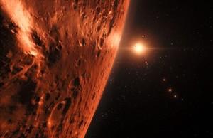 Reproducción de uno de los exoplanetas del sistema TRAPPIST-1.