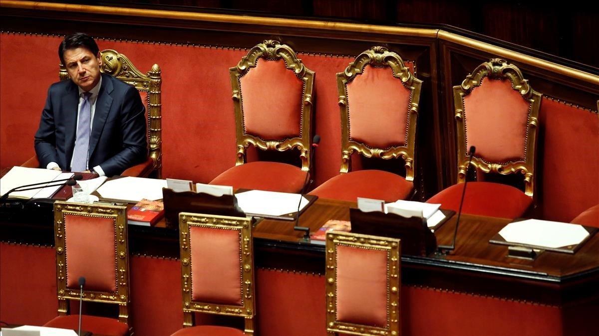 El primer ministro italiano este miércoles en el Senado.