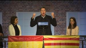 El candidato del PPC, Xavier García Albiol, en el acto de inicio de campaña este lunes.