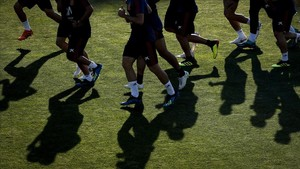 Los jugadores de la selección española se entrenan en Krasnodar.