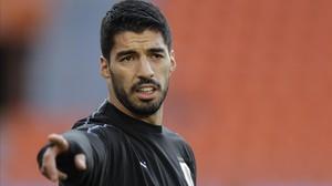 Luis Suárez, en el último entrenamiento de Uruguay.