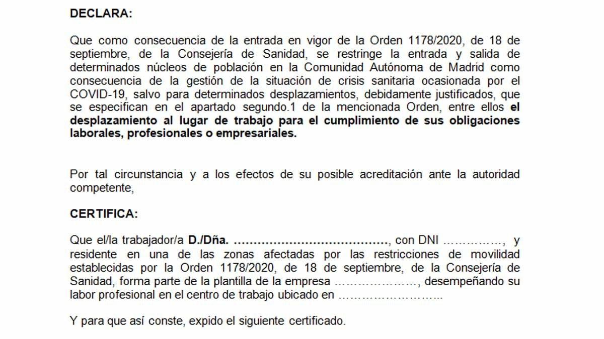 Madrid difon un justificant de mobilitat per entrar i sortir de les zones confinades