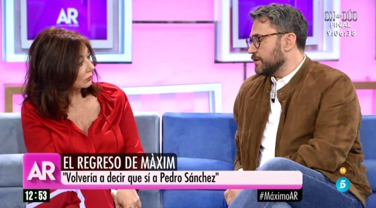 """Un emocionado Màxim Huerta se reencuentra con Ana Rosa: """"Fueron muy injustos contigo"""""""