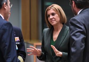 La ministra de Defensa, María Dolores de Copedal, en una cumbre en Bruselas, esta semana.